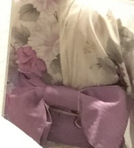 浴衣,夏浴衣,両面小袋帯,文庫結び,帯飾り