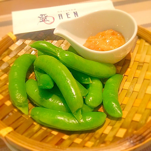 スナップえんどう茹でたて金山寺味噌マヨネーズ,新宿あえん,有機野菜
