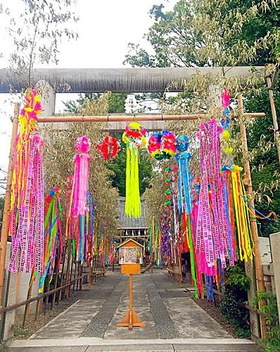 お朔日参り,御嶽神社,神社参り,七夕飾り